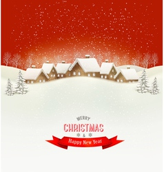 Winter village evening background vector