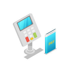 wireless pos terminal isometric 3d icon vector image