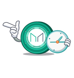 With clock maker coin character cartoon vector