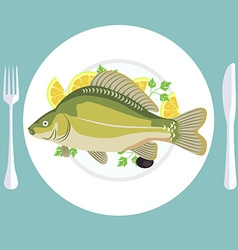 A of grill prepared fish with lemon and parsley vector image vector image