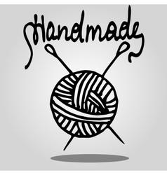 ball of yarn and knitting needles vector image