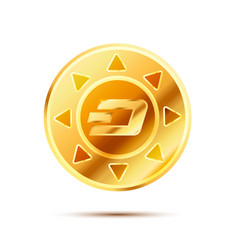 bright glossy golden coin with dashcoin sign on vector image vector image