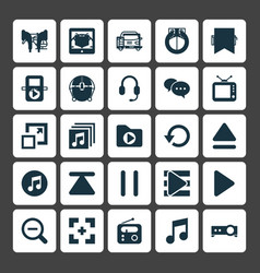 Multimedia icons set collection of e-reader vector