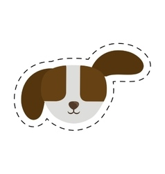 small puppy dog pet line dotted vector image vector image