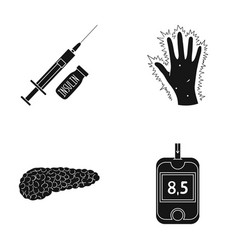syringe with insulin pancreas glucometer hand vector image