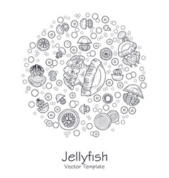 abstract picture with cartoon jellyfish vector image vector image