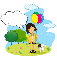 Girl with balloons and her pet dog vector image