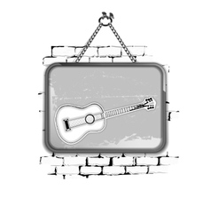 guitar stencil pattern in a frame on brick wall vector image vector image