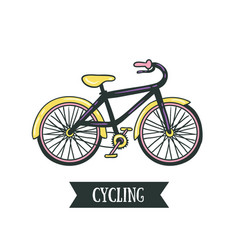 hand drawn with bicycle cycling design isolated on vector image vector image