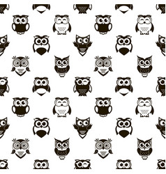 seamless pattern with cartoon black owls and vector image vector image