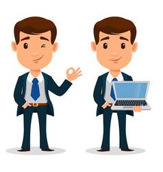 set of business man cartoon character in smart vector image vector image