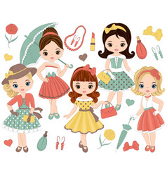 set with cute little girls in retro style vector image