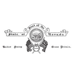 the united states seal of nevada vintage vector image