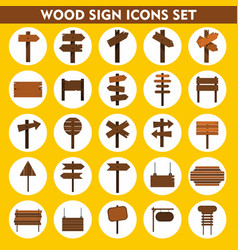 wood sign icons set on white background vector image vector image