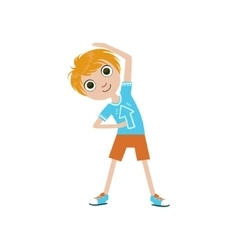 Boy Doing Stretching Exercise vector image vector image