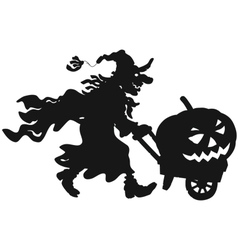 Witch with a halloween pumpkin vector