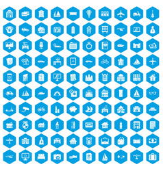 100 property icons set blue vector image vector image
