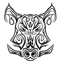 boar head black and white isolated tattoo vector image