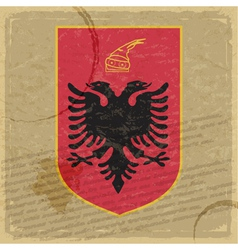 Coat of arms of Albania on the old postage stamp vector image vector image