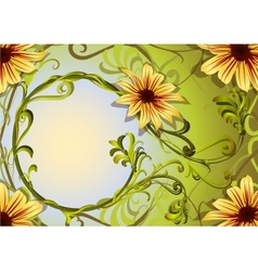 Floral background with weaving plants and yellow vector image
