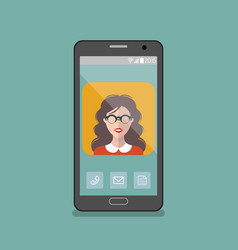 girl in glasses app icon on vector image vector image