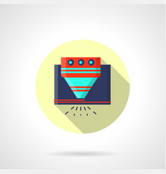 Industrial laser processing flat round icon vector
