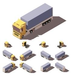 isometric truck with tilt box semi-trailer vector image vector image