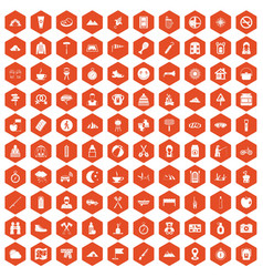 100 family camping icons hexagon orange vector