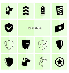 14 insignia icons vector image