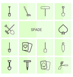 14 spade icons vector