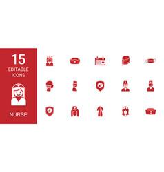 15 nurse icons vector image