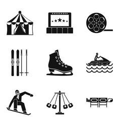Active life icons set simple style vector