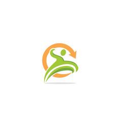 active people run sport logo vector image