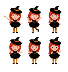Adorable little witch character in different poses vector