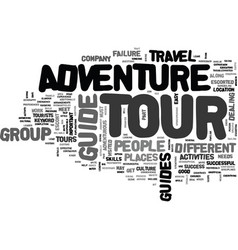 adventure tour guide text word cloud concept vector image
