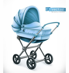Baby carriage stroller 3d icon vector