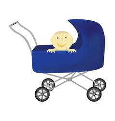 Baby in perambulator vector