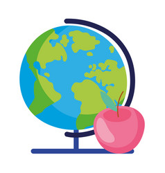 Back to school globe map and apple education vector