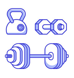 Barbell kettle bell and dumbbell icons vector