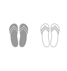 beach slippers grey set icon vector image