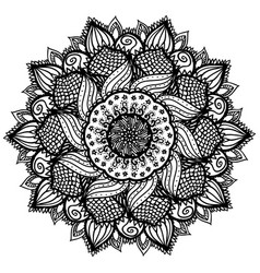 beautiful abstract black mandala isolated on white vector image