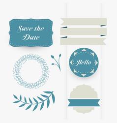 beautiful set of decorative wedding design vector image
