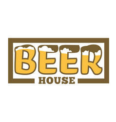 beer house isolated icon with lettering craft vector image