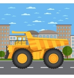 Big and heavy mining truck on road in city vector image