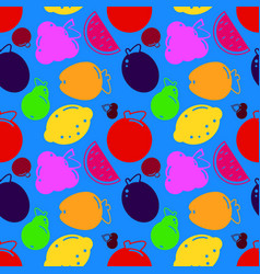 bright summer fruits watermelon apple pear vector image