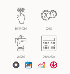 Calculator coins and cheque icons vector