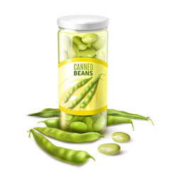 canned green beans realistic vector image