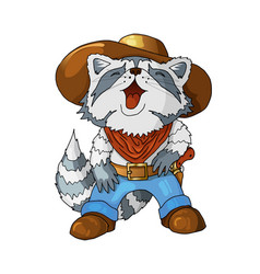 cartoon colored character american cowboy laughing vector image