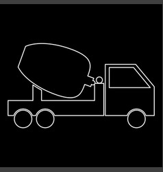 Cement mixers truck white color path icon vector