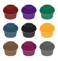 chocolate cupcake icon in black style isolated on vector image vector image